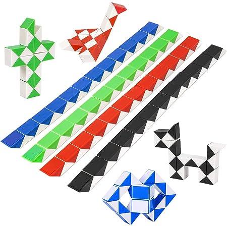 Cubo di Serpente Giocattolo 8 Pcs,Magic Snake Cube 24 Blocchi,Mini Magico Ruler Speed Puzzle,Twister Cubi per Adulti Kids,e Bambini,Esercitare la Coscienza Creativa,Feste Sacchetto di Riempimento