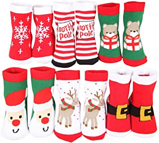 Baby Cotton Christmas Socks,Cute Warm Winter Stocking forToddler Baby Girls or Baby Boys(6 Pairs)