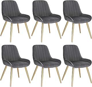 Lestarain 6X Sillas de Comedor Dining Chairs Sillas Tapizadas Paquete de 6 Sillas Cocina Nórdicas Terciopelo Sillas Bar Metal Silla de Oficina Gris Oscuro