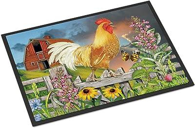 Caroline's Treasures Yellow Rooster Greeting The Day Door Mat doormats, Multicolor