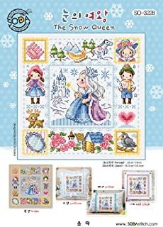SO-3228 The Snow Queen, SODA Cross Stitch Pattern leaflet, authentic Korean cross stitch design chart color printed on coated paper