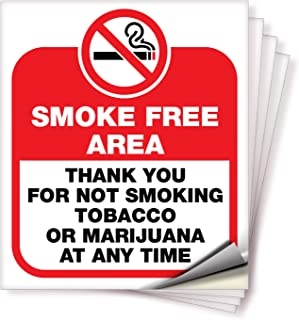 No Smoking Smoke Free Area Sticker Sign – 4 Pack 6x7 in – Premium Self-Adhesive Vinyl, Laminated for Ultimate UV, Weather,...