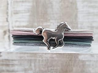 Tolles Geschenk: Pferde Kinder-Armband Leder-Armband mit Magnet-Verschluss für Mädchen Teenager