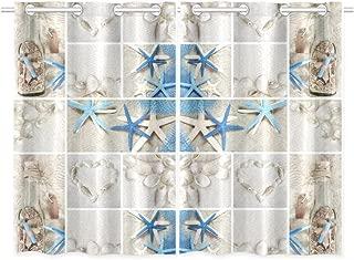 INTERESTPRINT Beach Theme Home & Kitchen Decor, Summer Seashells Starfish Window Treatment Panel Curtains,Set of 2,Total 52