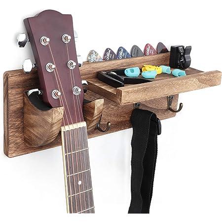 Bikoney Guitar Wall Hanger Guitar Holder Wall Mount Bracket Hanger Guitar Wood Hanging with Pick Holder and 3 Hooks Fathers Day Gifts Carbonized Black
