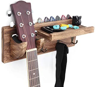 Bikoney Guitar Holder Wall Mount Bracket Guitar Wall Hanger Wood Hanging Rack with Pick Holder and 3 Hook Carbonized Black