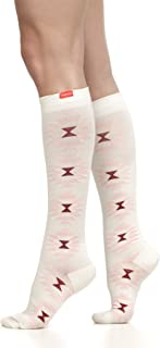 VIM & VIGR Women's 15-20 mmHg Compression Socks: Sedona Sunburst - Cream & Rose Quartz (Cotton) (Large)