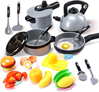 Cute Stone Kids Kitchen Pretend Play Toys,Play Cooking Set, Cookware Pots and Pans..