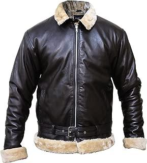 Tom Hardy Dunkirk Pilot Aviator Bomber Flying Sherling Fur Genuine Sheep Leather Jacket,XXS-3XL