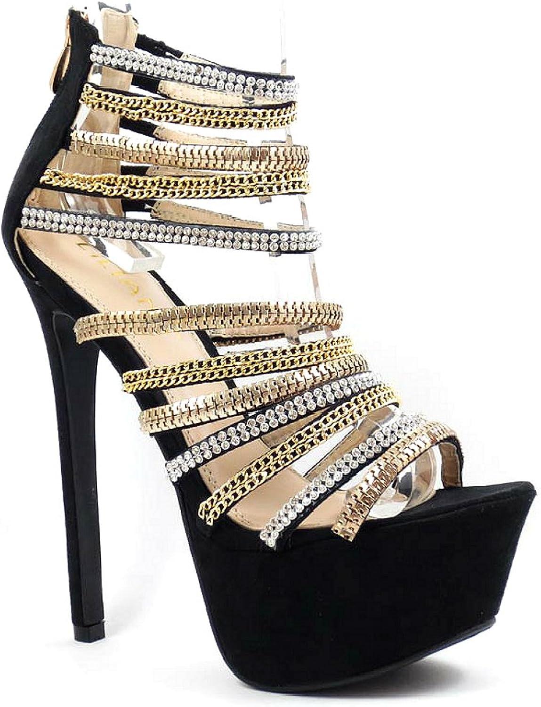 Liliana Open Toe Rhinestones Strappy Sandal Platform Heels Women's shoes
