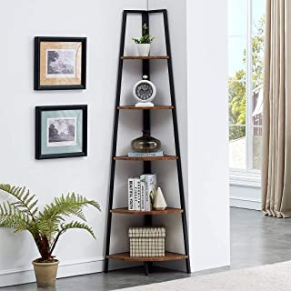 O&K FURNITURE Industrial Tall Corner Bookshelf, 5 Tier...