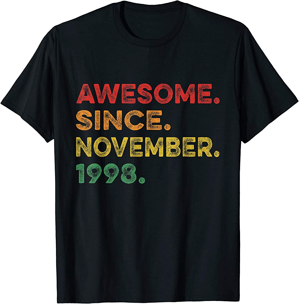 21st Birthday Gift 21 Yrs Old Vintage Awesome November 1998 T-shirt