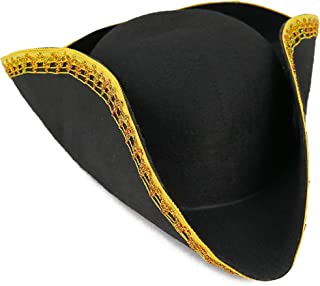Colonial Black Tricorn Hat - Revolutionary War Costume Tricorner Deluxe Hat with Gold Trimming
