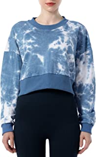 Dream Slim Women's Tie Dye Print pullover Sweatshirt Long Sleeve Loose Fit Crop Workout Tops