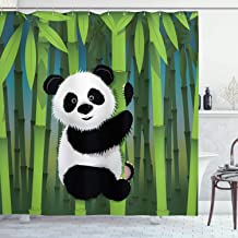 Ambesonne Cartoon Decor Collection, Curious Baby Panda on Stem of the Bamboo Bear Jungle Nature Wood Design Pattern, Polyester Fabric Bathroom Shower Curtain, 75 Inches Long, Green Blue Black White