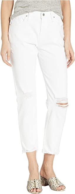 Jessi Relaxed Cropped Boyfriend Five-Pocket Jeans in Optic Crush (White)