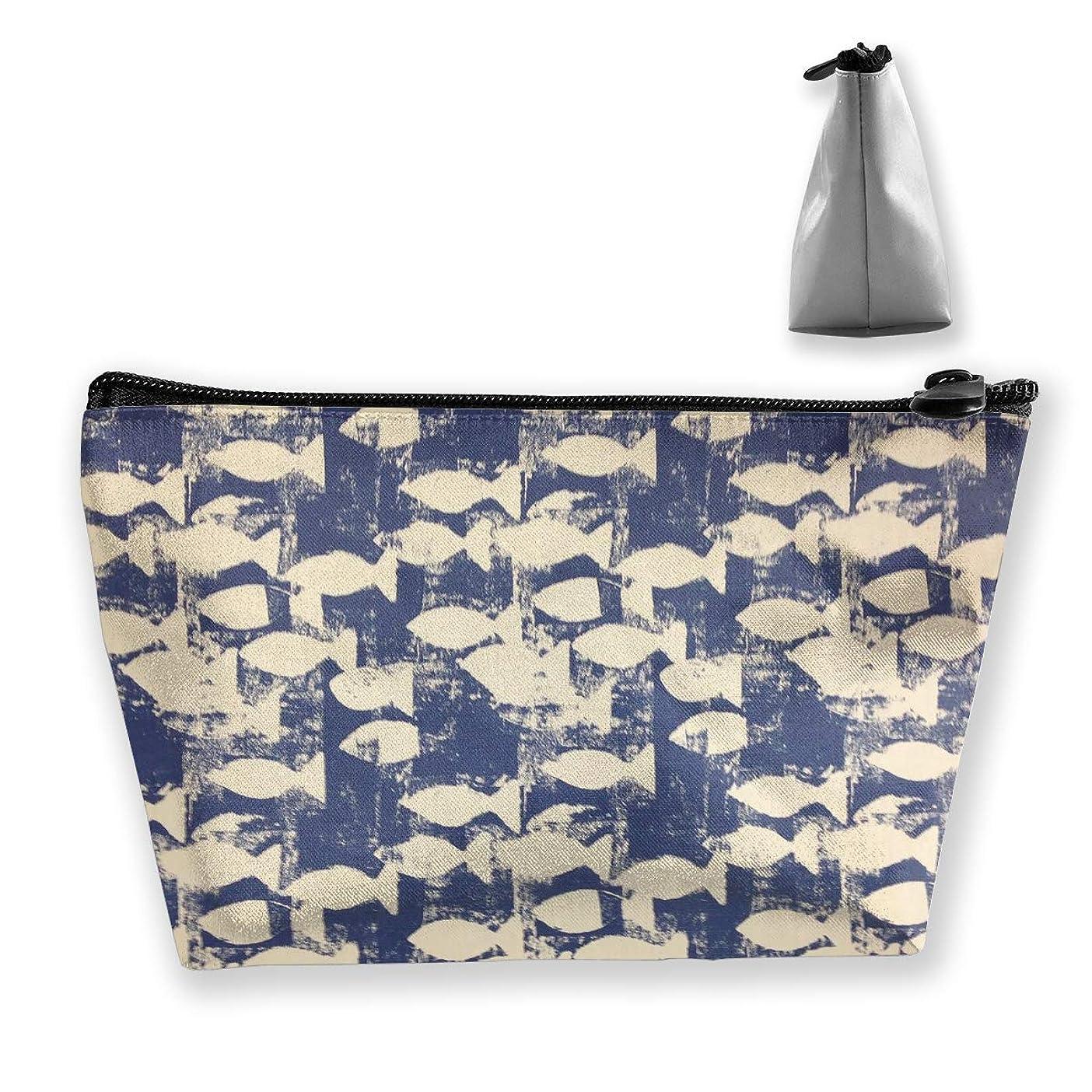 傘アウター明日台形 レディース 化粧ポーチ トラベルポーチ 旅行 ハンドバッグ 魚パターン コスメ メイクポーチ コイン 鍵 小物入れ 化粧品 収納ケース