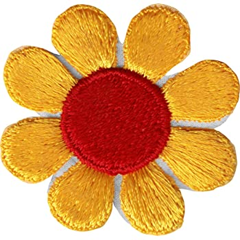 Daisy Flower - Yellow Orange with Red Center - Embroidered Sew or Iron on Patch