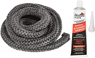 """Stanbroil Graphite Impregnated Fiberglass Rope Seal and High Temperature Cement Gasket Kit Replacement for Wood Stoves - 3/4"""" x 84"""""""