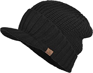 Men's Stylish Knit Visor Brim Beanie Hats Fleece Lined Skull Ski Caps