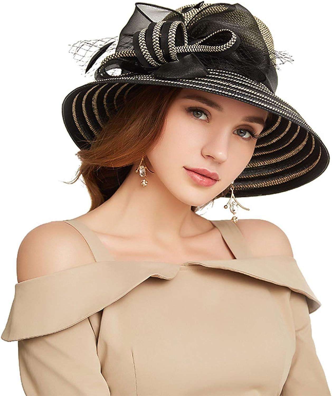 ORIDOOR Women's Organza Cloche Bowler Hat Church Kentucky Derby Fascinator for Tea Party Bridal Wedding Dress Hat
