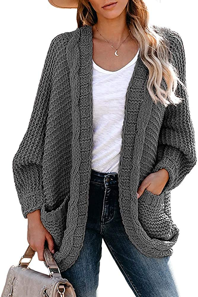 Women's Cable Knit Cardigans Loose Fitting Slouchy Oversized Wrap Chunky Knitted Pocket Sweaters Coat Soft Outwear Grey