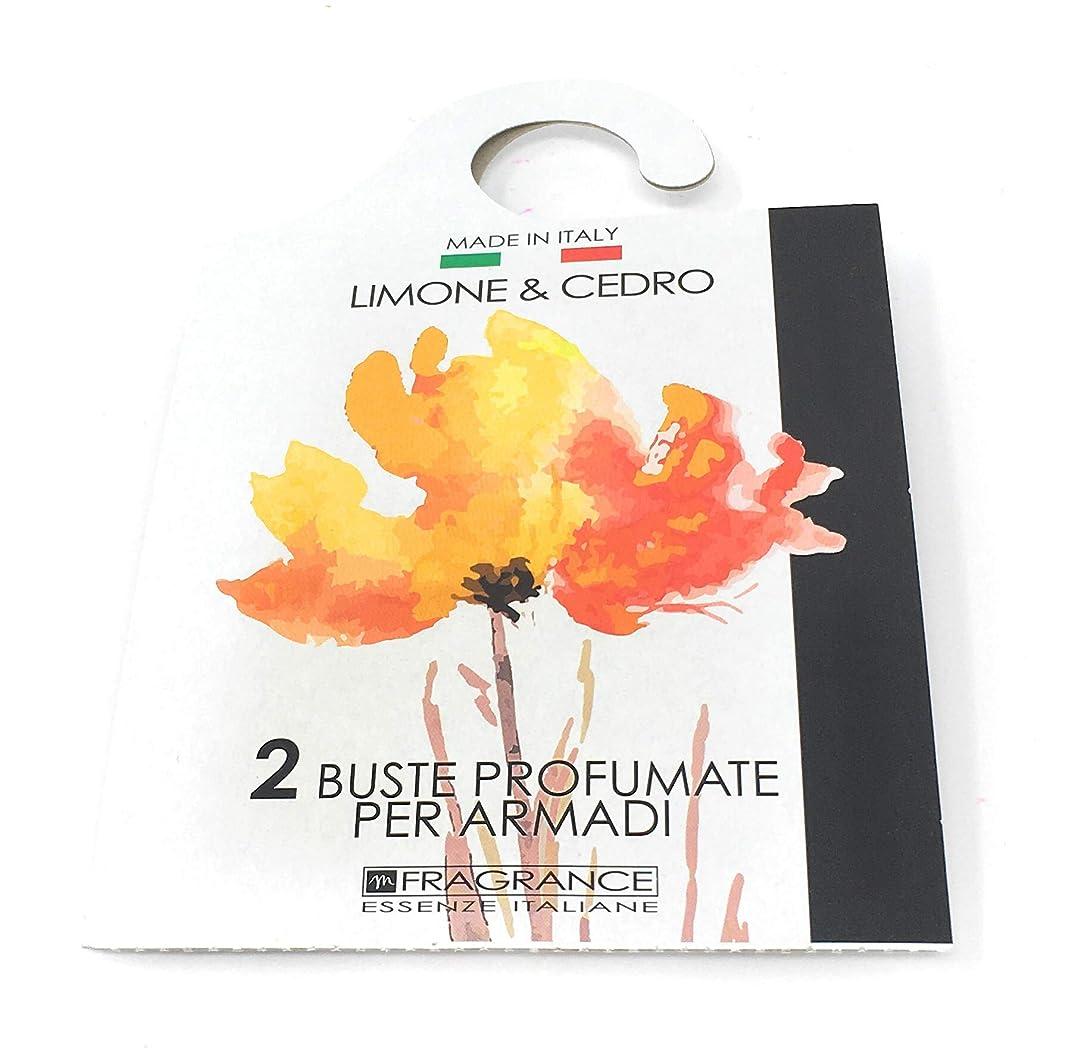 矩形ホイットニーマイクロMERCURY ITALY 吊り下げるサシェ(香り袋) ACQUARELLO イタリア製 レモン&シトロンの香り/LIMONE & CEDRO 2枚入り [並行輸入品]