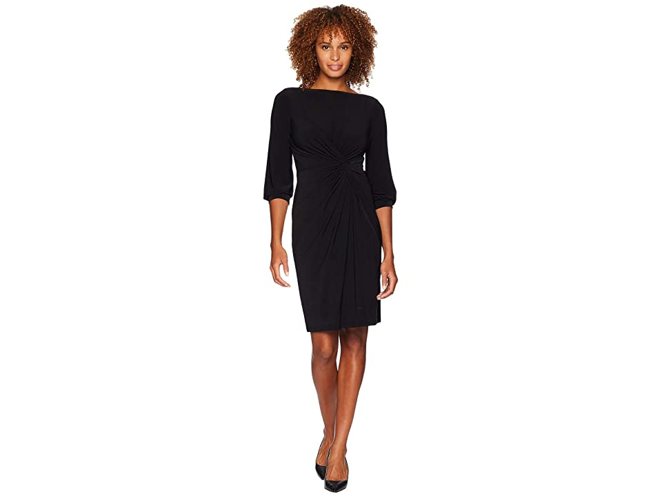 LAUREN Ralph Lauren Matte Jersey Anavera 3/4 Sleeve Day Dress (Black) Women