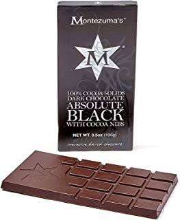 Montezuma's 100% Dark Chocolate Absolute Black with Cocoa Nibs 3.5 oz (2 Pack)