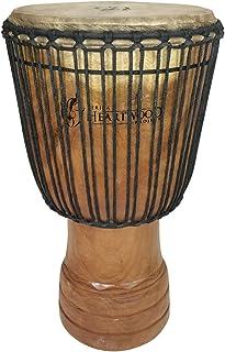 """طبل دست ساز Djembe از آفریقا - 14 """"x25"""" بزرگ با بیس بزرگ (حلقه های حک شده)"""