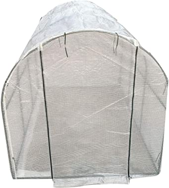 DOMINTY Mini Walk-in Greenhouse Indoor Outdoor, Zippered Door, Portable Plant Gardening Greenhouse (118L x 79W x 79H Inches), Grow Seeds & Seedlings, Herbs Flowers or Tend Potted Plants White