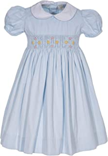 Carriage Boutique Girls Dress Pink o Blue Pique Flowers Short Sleeve Hand Smocked Dress