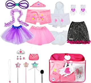 Sinuo Girl Dress Up Set, Princess Role Play Dress Up Trunk 21pcs Girls Popstar, Fairy, Princess, Bride Pretend Costumes Outfits for Kids Age from 2-5