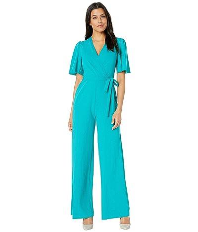 Donna Morgan Short Flutter Sleeve Wrap Front Crepe Jumpsuit (Fresh Teal) Women