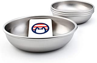 Americat Company Set of Stainless Steel Cat Bowls – Made in The USA – Whisker Friendly to Prevent Whisker Fatigue – Cat Food and Water Dishes (Set of 2, 4 or 6)