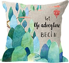 Watercolor Green Forest Tree Hot Air Balloon Let The Adventure Begin Cotton Linen Square Throw Waist Pillow Case Decorative Cushion Cover Pillowcase Sofa 18x18 inches