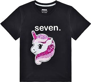 7 Años Cumpleaños Camisetas Unicornio Lentejuelas Flip Niña Regalo Fiesta