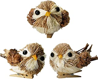 JHYQ-US Lifelike Birds Ornaments Christmas for Christmas Tree Decor with Wood Clips (Grey,Pack of 3)