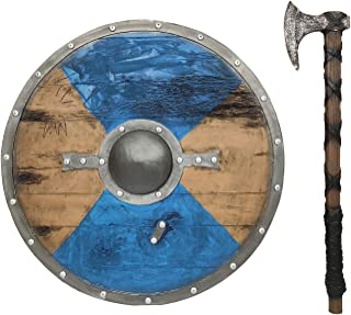 LOOYAR 2 Pack Viking Age Middle Ages Medieval Round Shield and Hand Axe Weapon Toy for Berserker Soldier Warrior Costume Battle Play Halloween Cosplay LARP Blue
