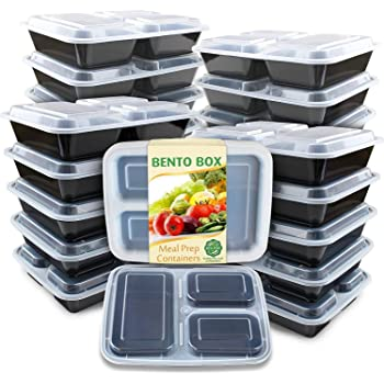 Enther Meal Prep Container 20 Pack 3 Compartments with Lids Food Storage Bento Box BPA Free/Reusable/Stackable Lunch Planning, Microwave/Freezer/Dishwasher Safe, Portion Control 36oz
