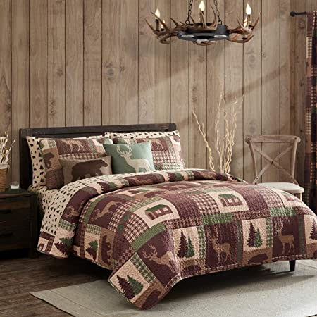 King Quilt 3 Piece Set Rustic Cabin Lodge Deer and Bear Coverlet Bedspread