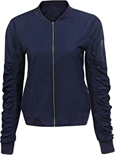 Fubotevic Womens Stylish Ruched Solid Stand Collar Zip Mesh Windbreaker Jacket Coat