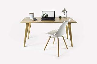 Bureau artisanal en chêne massif, bureau d'ordinateur, bureau à domicile, bureau d'écriture, bureau en bois.
