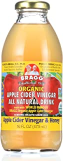 Bragg Apple Cider Vinegar Drink - Organic - ACV and Honey - 16 oz - case of 12 - 95%+ Organic - Gluten Free - Dairy Free - Yeast Free - Wheat Free-