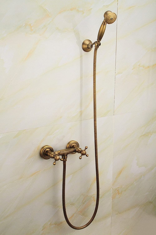 ZHFC- Copper antique bathroom simple shower set European Garden retro shower flush water mixing valve,A