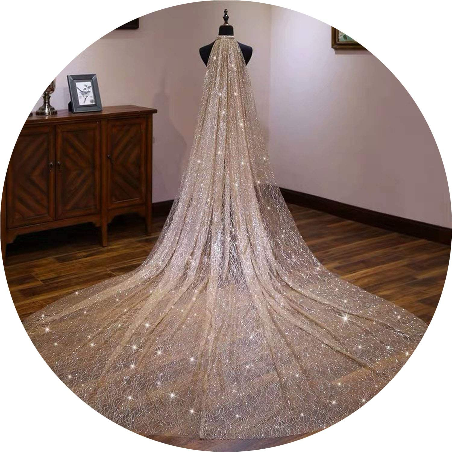 gold Glitters Bridal Veils Luxury Wedding Veil Bride 3  3.5Meters Long Cathedral Veil With Comb Peigne Mariage,Champagne
