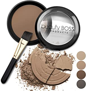 Eyebrow Powder Medium Brown - Natural Fill-in Eyebrow Makeup - Brow Power Water Resistant Includes Small Brush