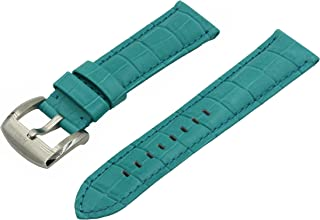 Swiss REIMAGINED Watch Band Croc Grain Leather Brushed Stainless Steel Buckle