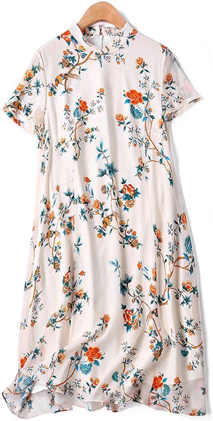 HangErFeng Everyday Dress Silk Printed Modified Cheongsam Slim Chinese Style Elegant Romantic A-line SkirtH2010