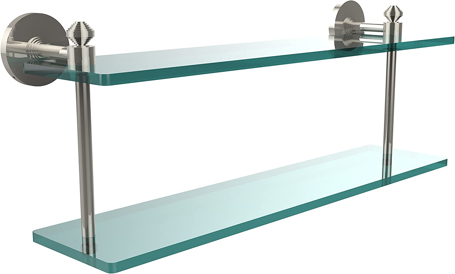 Allied Precision Industries Southbeach Collection 22 Inch Two Tiered Glass Shelf, SB-2 22-PNI, Polished Nickel, 22 in.
